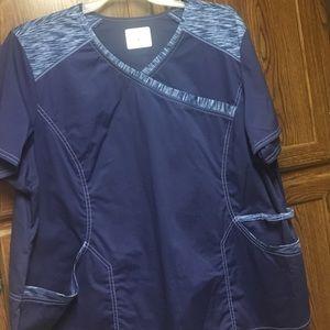 Navy scrub top.